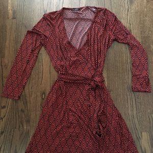 Banana Republic navy/reddish orange wrap dress